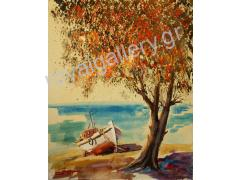 BOURANIS 80X100 OILPAINTING ''TREE AND BOAT''
