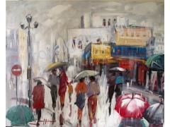 BOURANIS 80X100 OILPAINTING ''WALK IN THE RAIN''